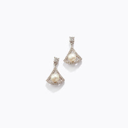 Pearl Fan CZ Drop Earrings