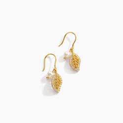 Pearl & Leaf Drop Earrings
