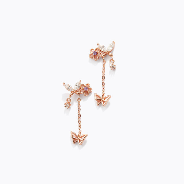 Flower & Butterfly Drop Earrings