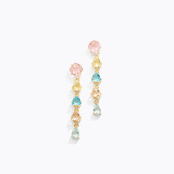 Multicolor CZ Long Drop Earrings