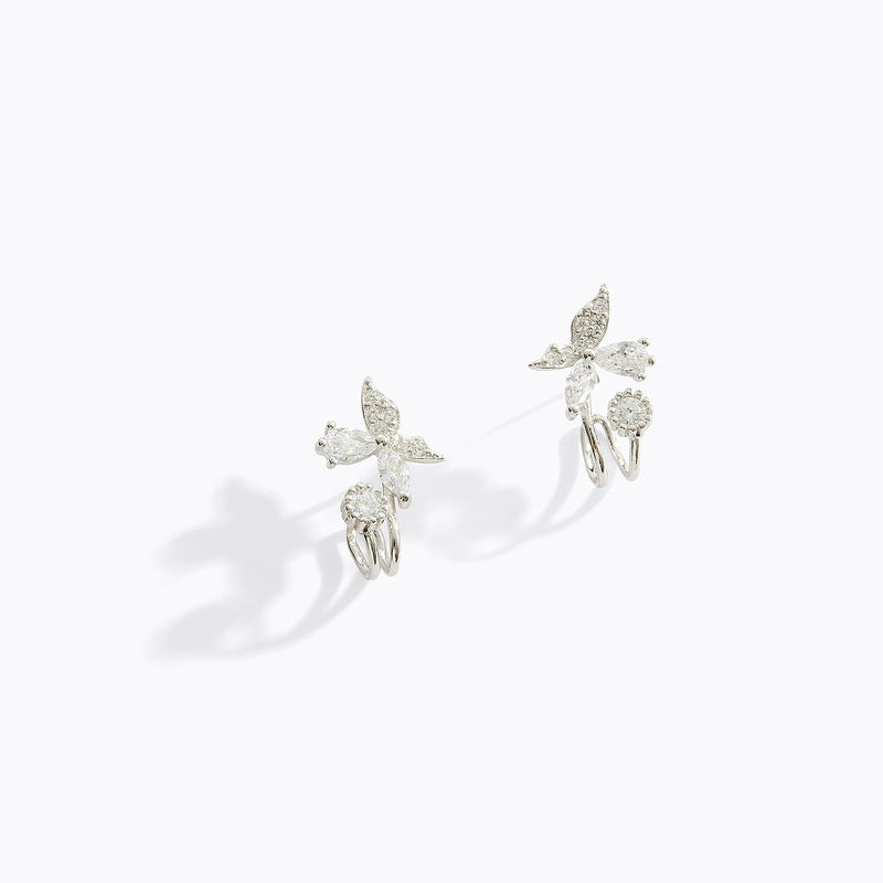Butterfly and CZ Cuff Earrings