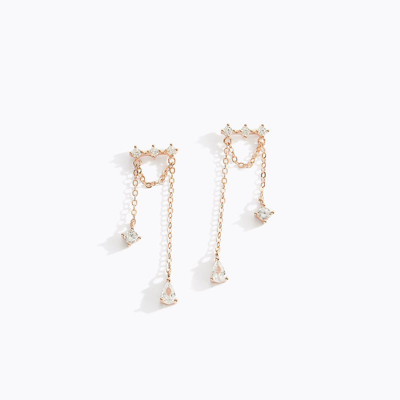 Double CZ Fringe Earrings