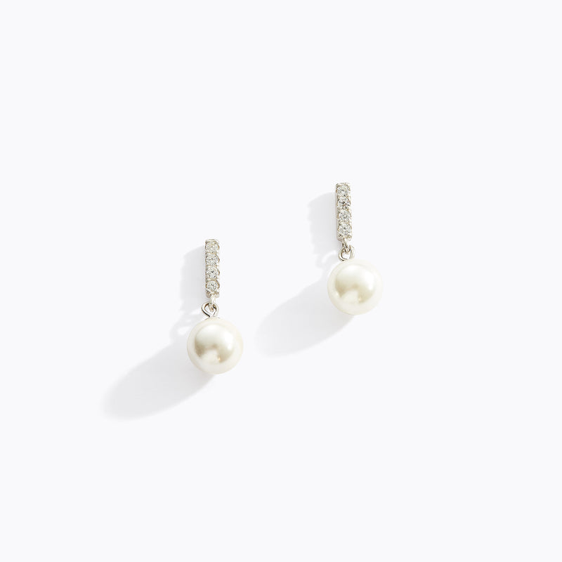 CZ and Pearl Drop Earrings