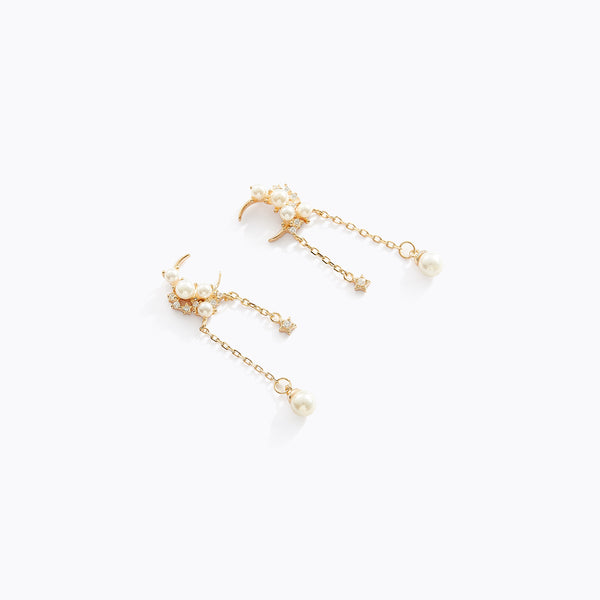 Moon & Star Pearl Fringe Earrings