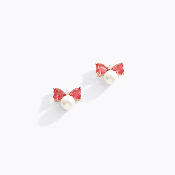 Ruby Bow and Pearl Drop Earrings