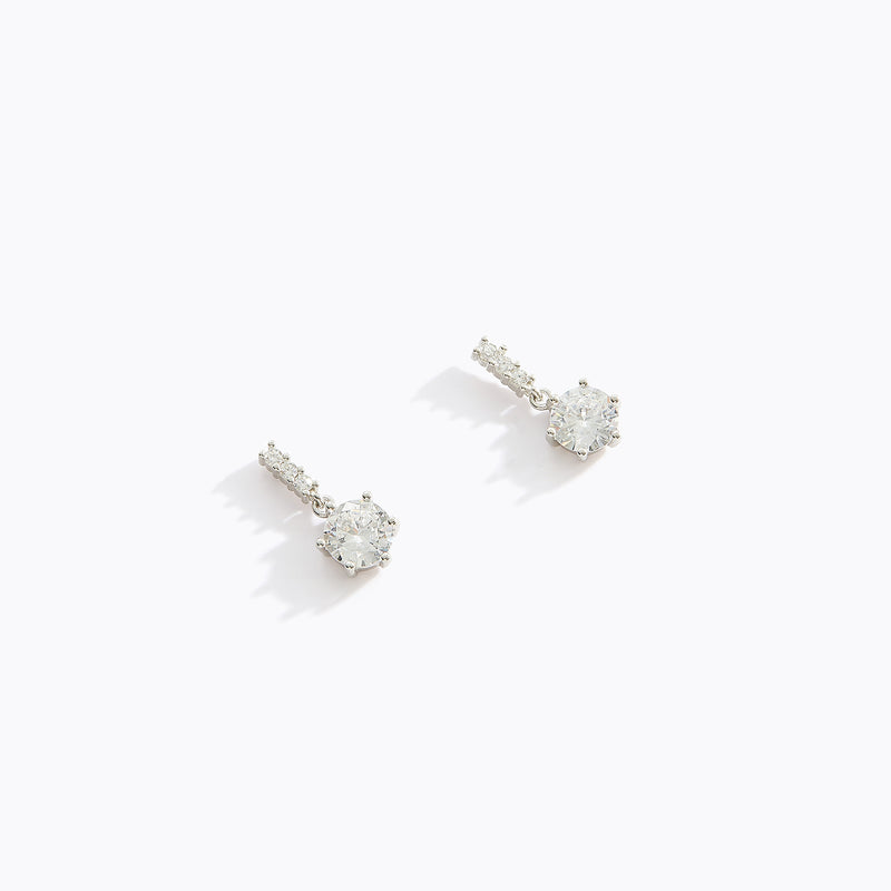 Bar and CZ Drop Earrings