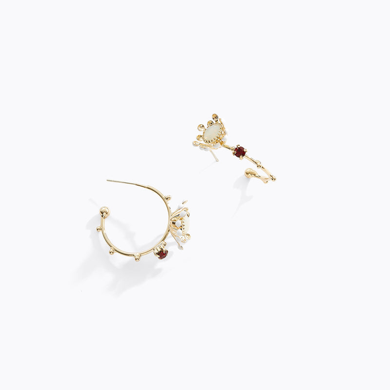 Chrysanthemum Flower Hoop Earrings