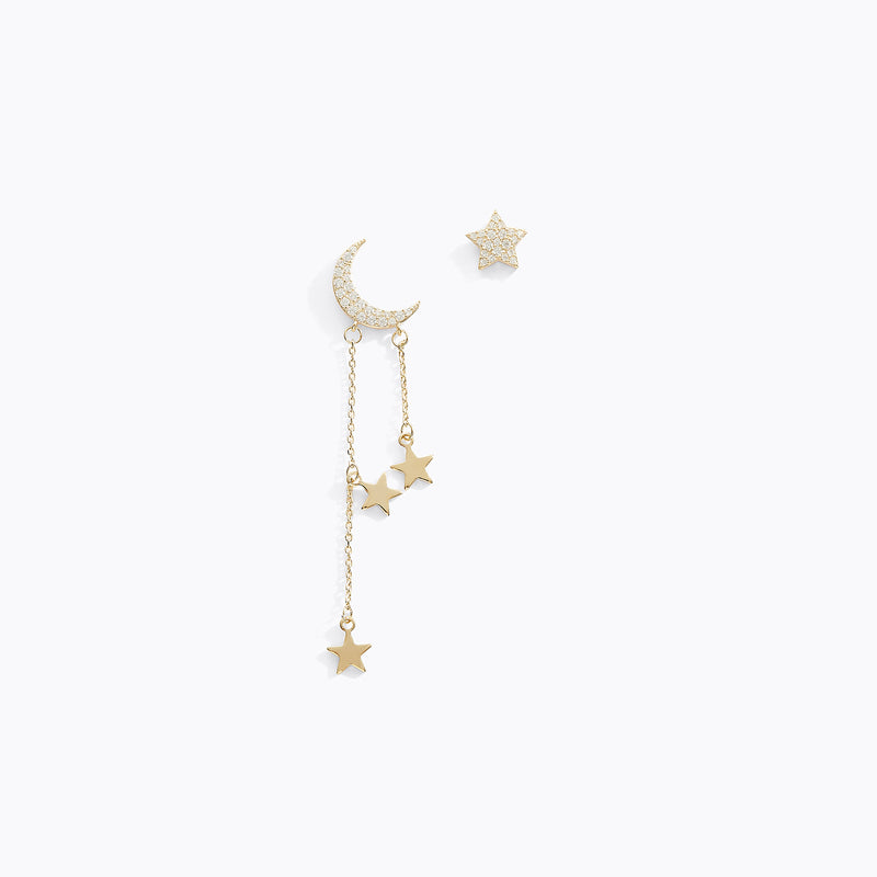 Asymmetrical Moon & Star Earrings