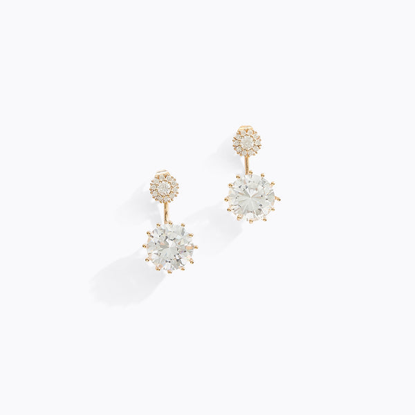 Circular Stud CZ Drop Earrings