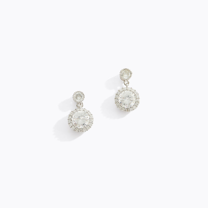 Circular Hanging CZ Earrings
