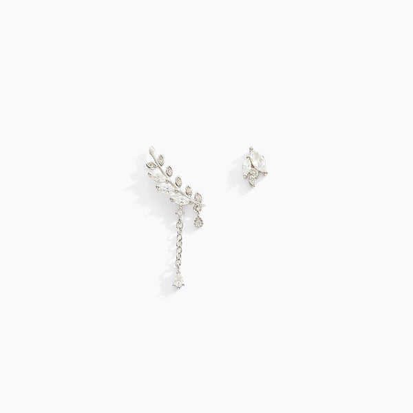 Asymmetric Hanging CZ Earrings