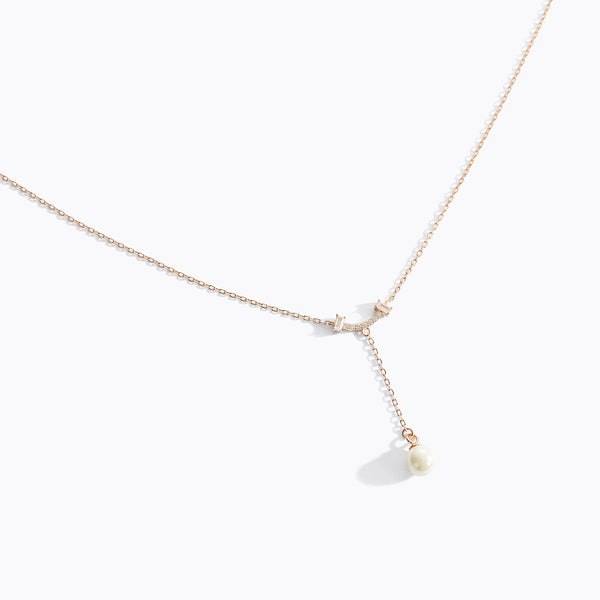 CZ Smile & Pearl Drop Necklace