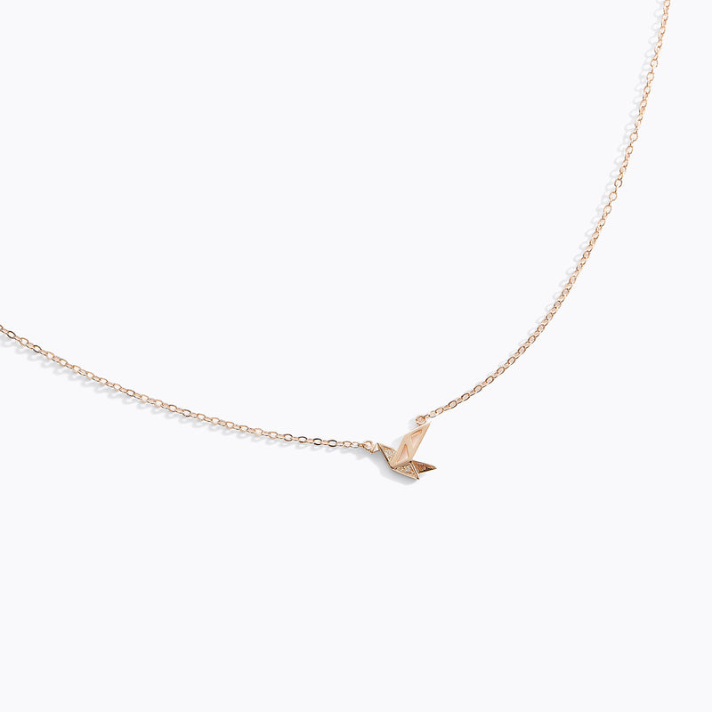 CZ Origami Bird Necklace