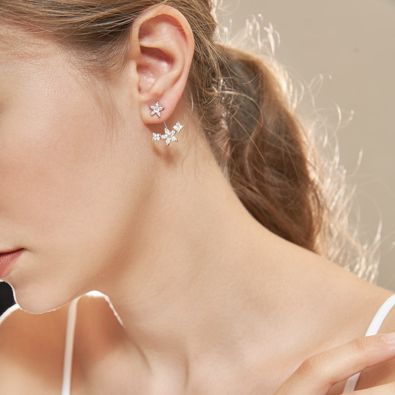 Clear CZ Floral Curve Hanging Earrings