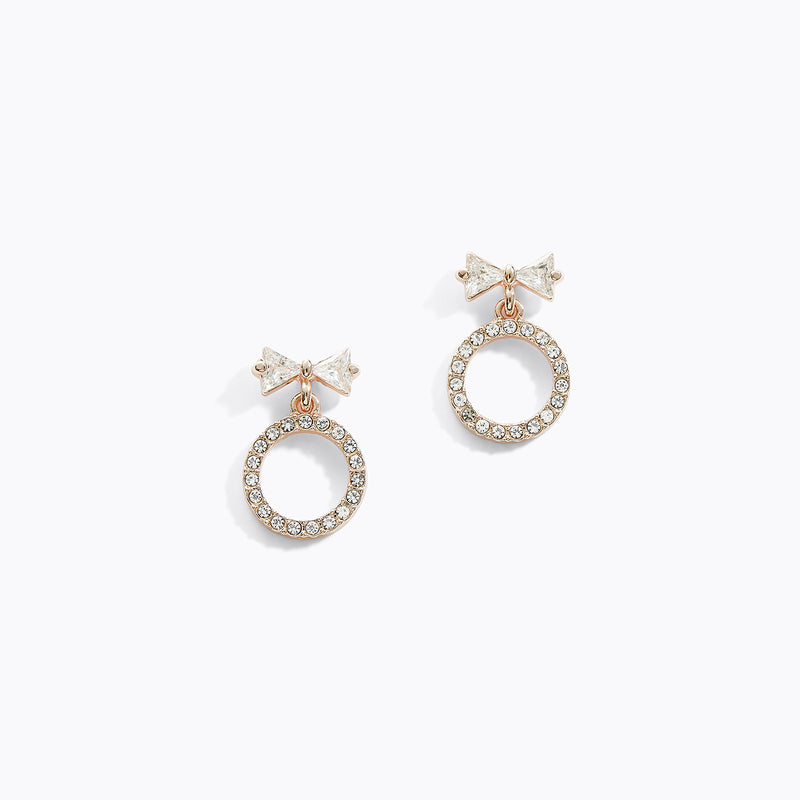 CZ Bow Circular Drop Earrings