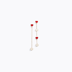 Asymmetrical Heart CZ Earrings