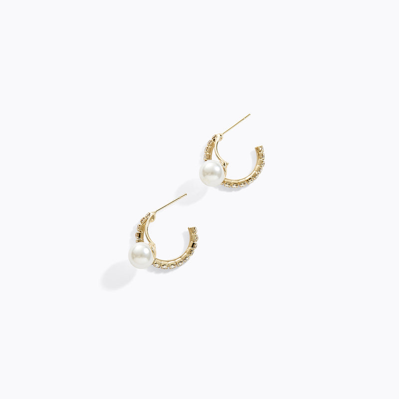 Clear CZ Pear Hoop Earrings