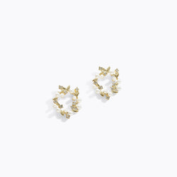 Circular Leaf Pearl Earrings