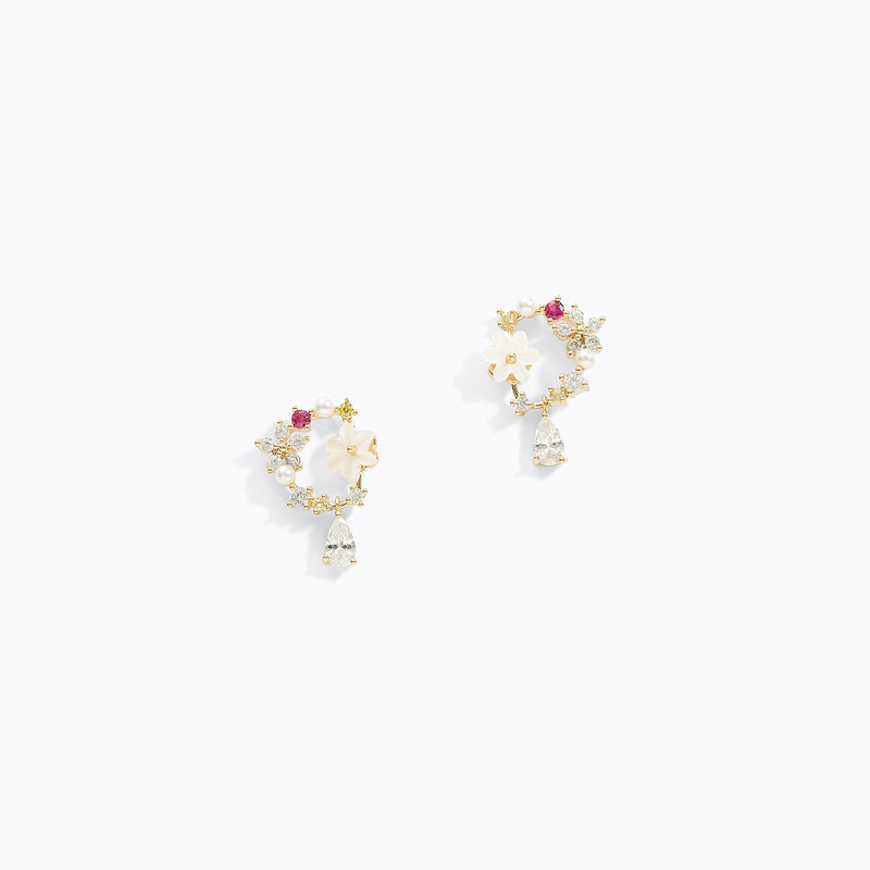 Circle Drop Sakura Earrings