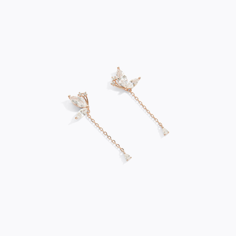 Half Butterfly CZ Drop Earrings