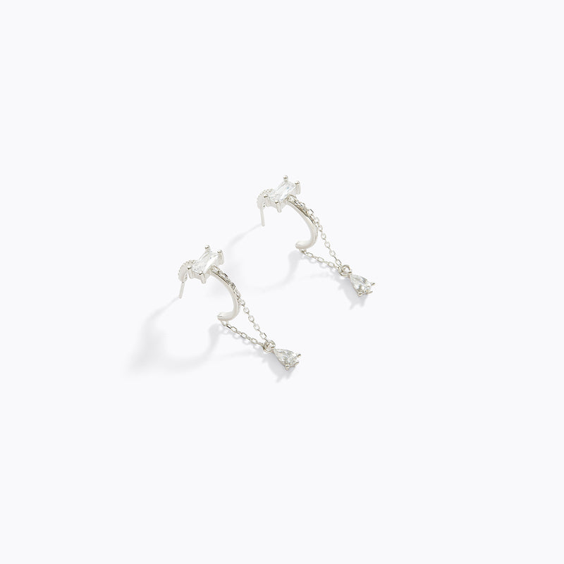 CZ Water Drop Hoop Earrings