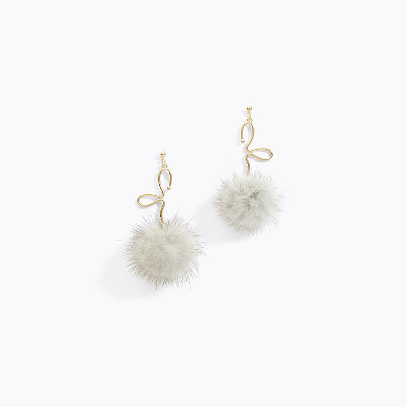 Pom Pom Leaflet Earrings