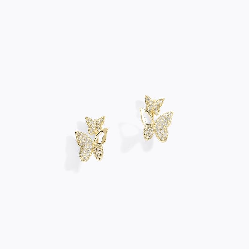 CZ Double-Sided Butterfly Earrings