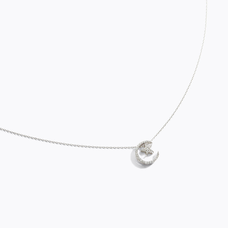CZ Moon & Star Necklace