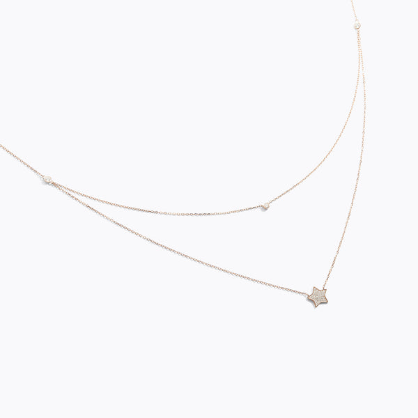 CZ Star Double Layered Necklace