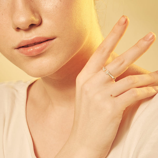 Gold-tone Clear CZ Ring