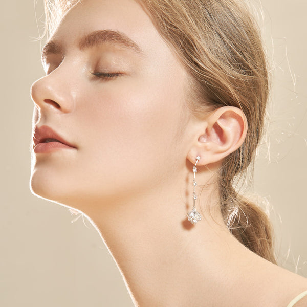 Clear CZ Cube Drop Earrings