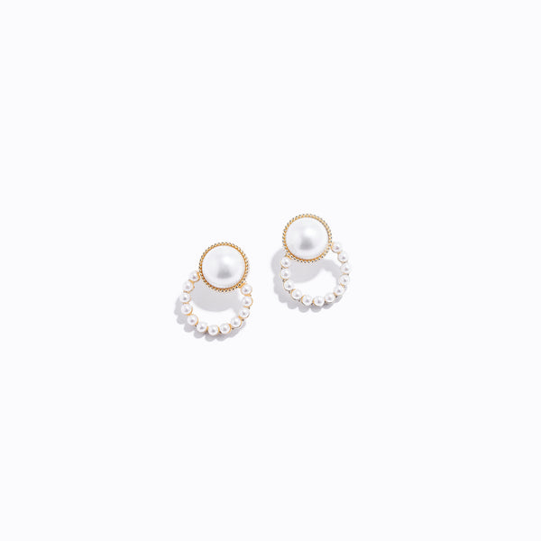 Pearl Stud & Chrome Earrings