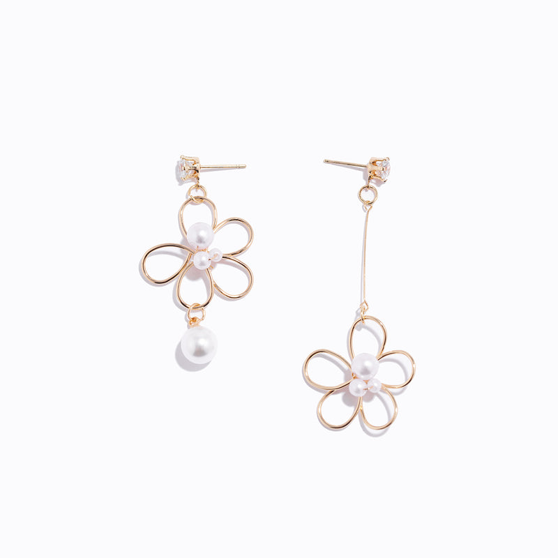 Gold-tone Floral Asymmetry Earrings