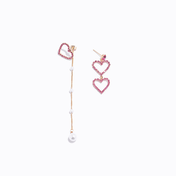 CZ Heart Asymmetry Earrings