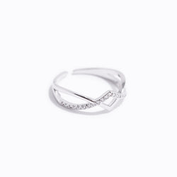 Clear CZ Symmetric V-Shaped Ring