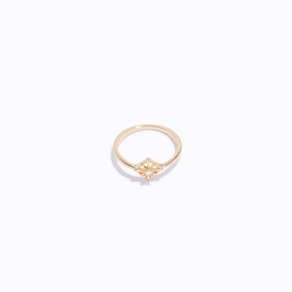 Gold-tone Rhombus & Clear CZ Ring