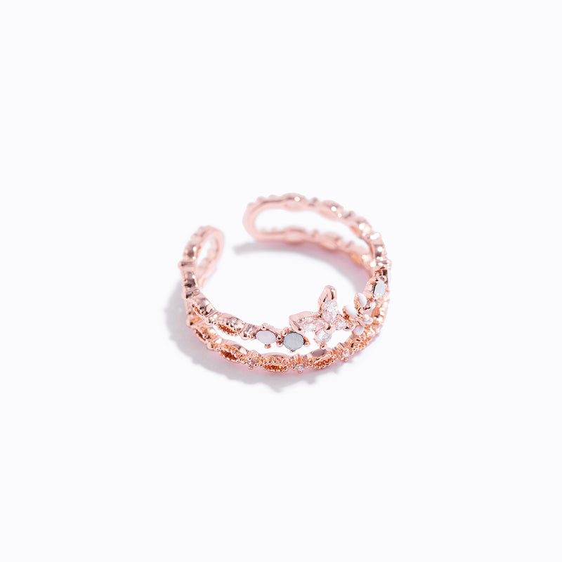 Clear CZ Floral Doubleline Ring