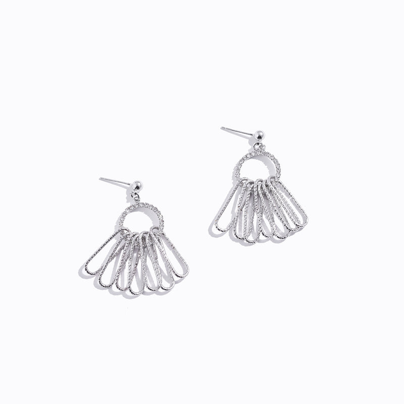 Clear CZ Chrome & Tassel Earrings