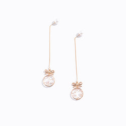 Gold-tone Bow & Nest Drop Earrings