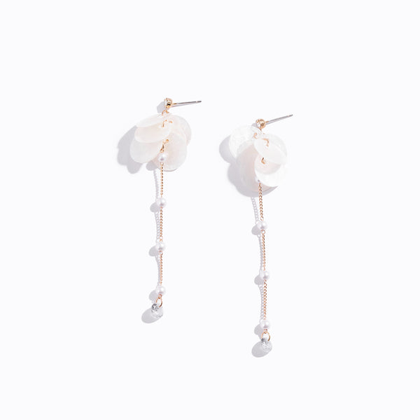 White Shell & Pearl Long Drop Earrings