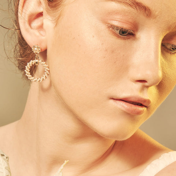 Gold-tone Pearl Chrome Earrings