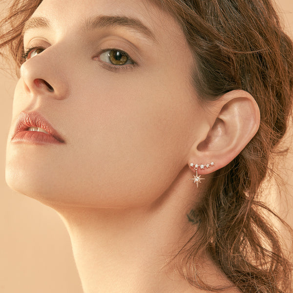 Curve Bar & Star Drop Earrings