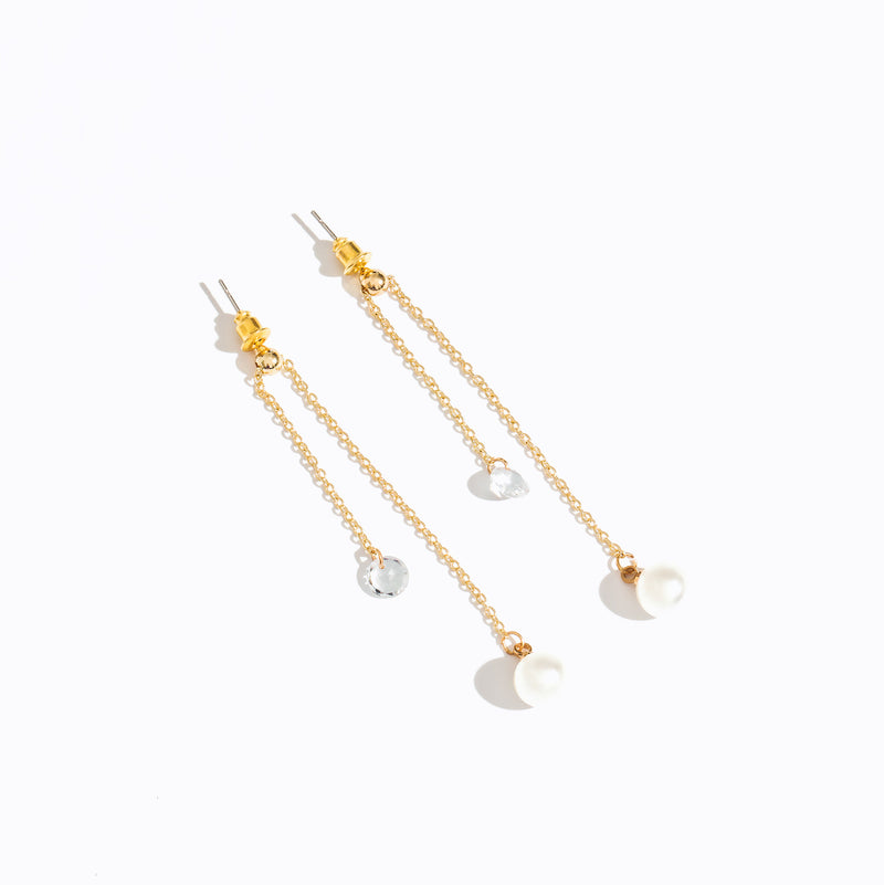 Clear CZ Pearl Long Drop Earrings