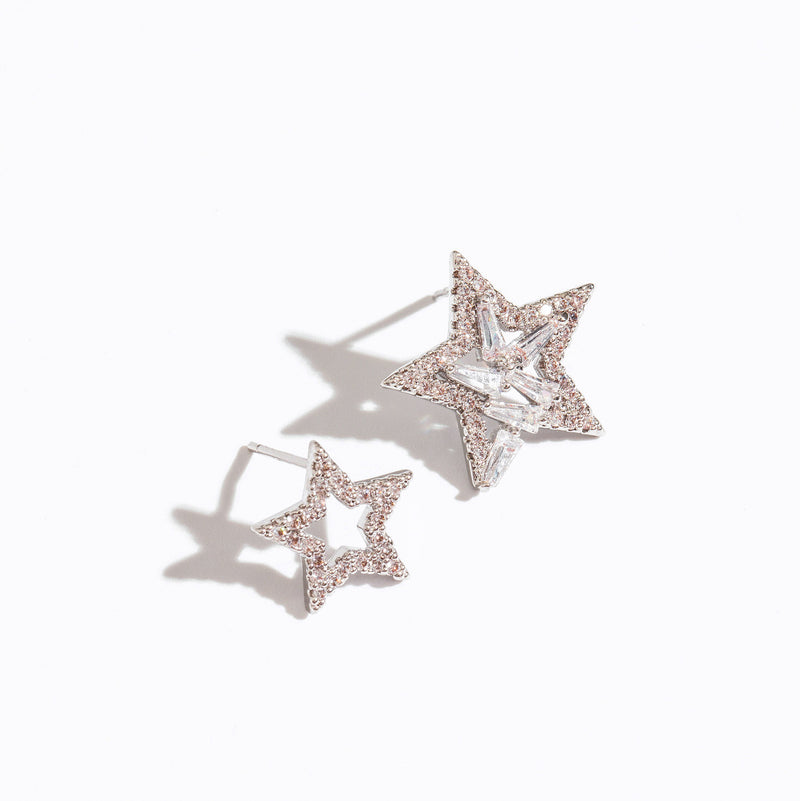 Clear CZ Star Stud Earrings