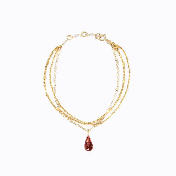 Natural Garnet_Charm_18K_Gold_Chain_Bracelet_1
