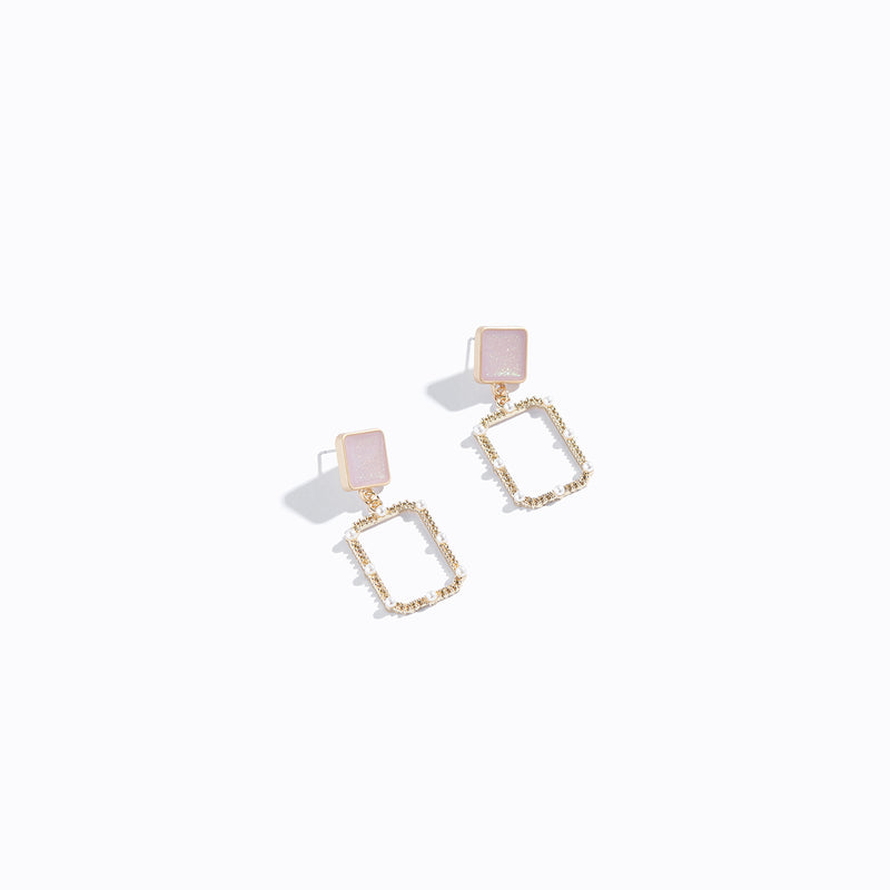 Square Stud & Geometric Drop Earrings