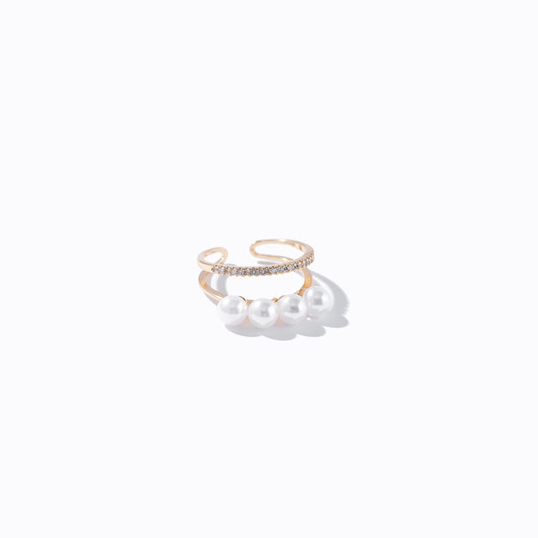 Pearl & Mini CZ Ring