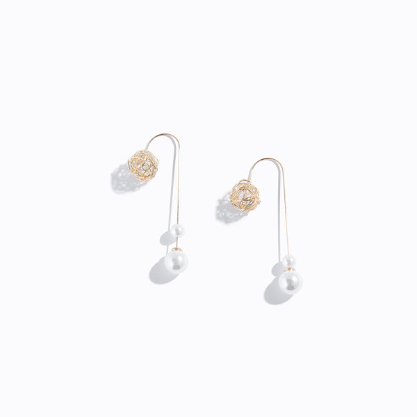 Gold-tone Pearl & Ball Drop Earrings
