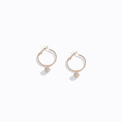 Gold-tone Clear CZ Drop Hoop Earrings