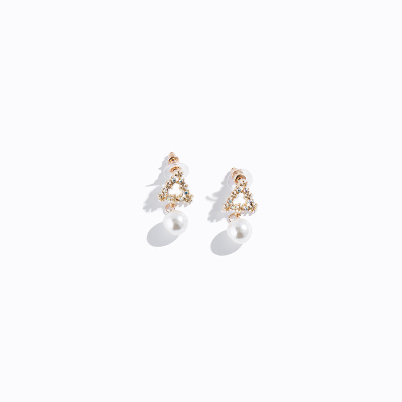 Floral Triangle Stud & Pearl Drop Earrings